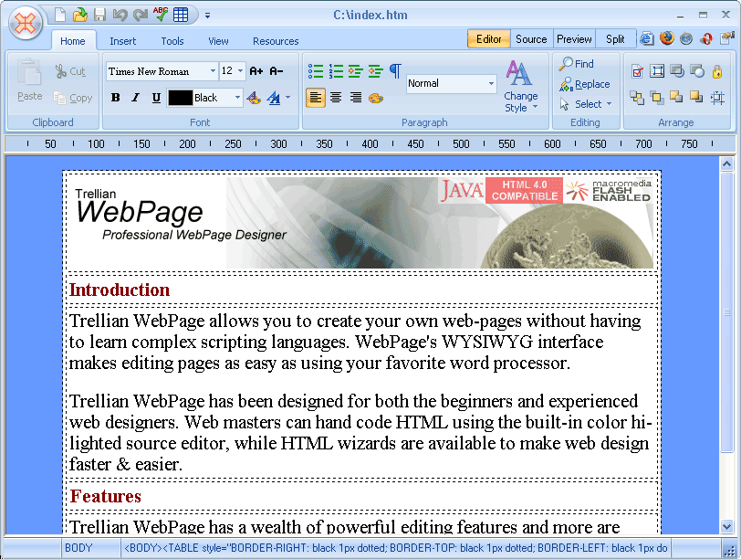 WebPAGE brings together your text and images using a simple WYSIWYG interface
